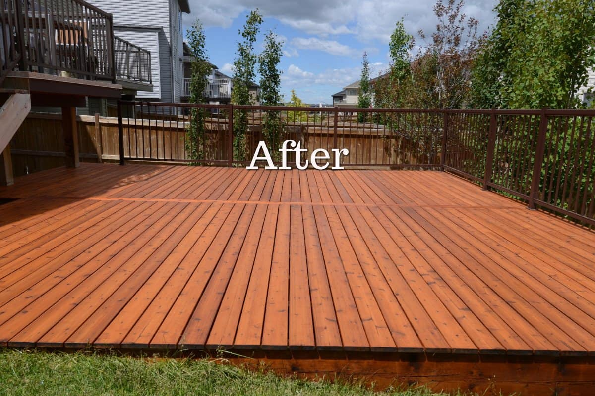 Cedar Deck Restoration In Calgary Eco Star Painting