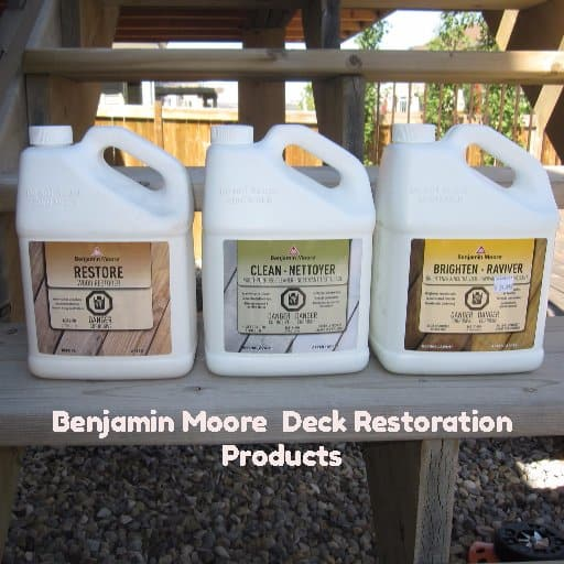 Benjamin Moore Deck Restoration products named Clean,Restore,brighten