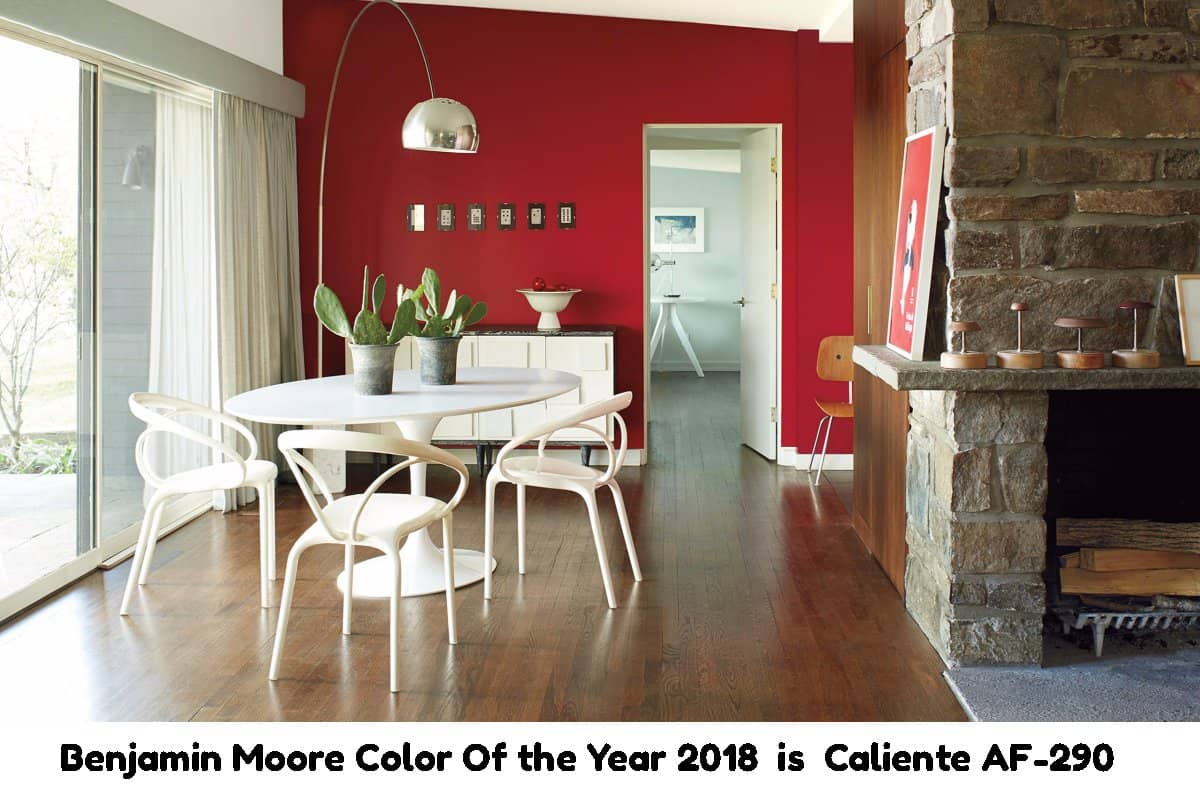 Dining room painted with red Benjamin Moore Caliente AF-290 color